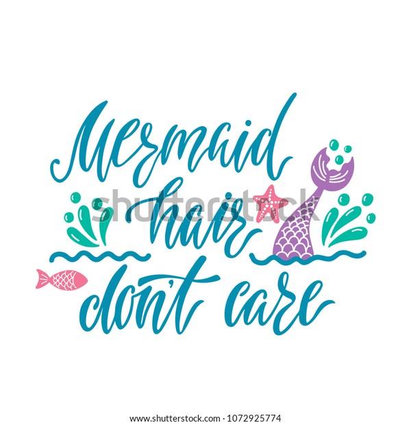 mermaid hair dont care hand drawn stock vector royalty