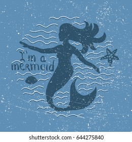Mermaid hand drawn. Stock vector illustration of marine mythological woman. Cartoon character design.