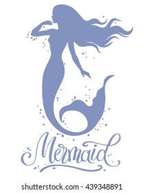 Mermaid, hand drawn vector silhouette illustration.