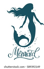 Mermaid, hand drawn vector silhouette illustration isolated on white background.
