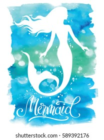 Mermaid, hand drawn vector silhouette illustration on watercolor background.
