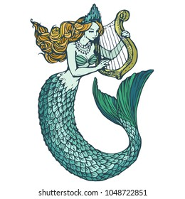 Mermaid with harp colorful ink hand drawn illustration isolated on white background