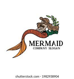 mermaid illustration cartoon logo vector. mermaid mascot design vector