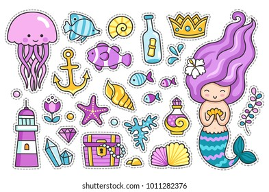 Mermaid, jellyfish, cute sea animals, fish, sea shell, lighthouse, anchor, starfish. Set of cartoon stickers, patches, badges, pins, prints for kids. Doodle cartoon style. Vector illustration.