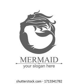 Mermaid logo. Brand template vector illustration. Siren and marine girl with a tail.