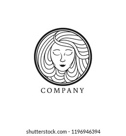 Mermaid logo. Goddess, siren or nymph woman engraving. Water, air, natural soap, organic cosmetics icon.