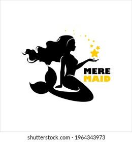 mermaid logo holding stars silhouette illustration, badge icon industry design template inspiration