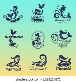Mermaid logo. Marine swim fairytale women ocean symbols vector badges collection