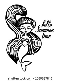 Mermaid with long hair. Hand-Drawn summer Doodle. Vector Illustration cartoon character. Young girl. vector illustration for t shirt printing and embroidery.