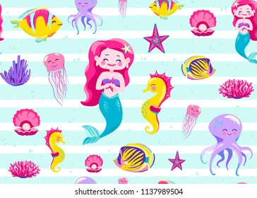 Mermaid pattern seamless vector illustration. Endless background for child print with striped white texture, ocean fish, seahorse, jellyfish, star, coral, octopus on light backdrop