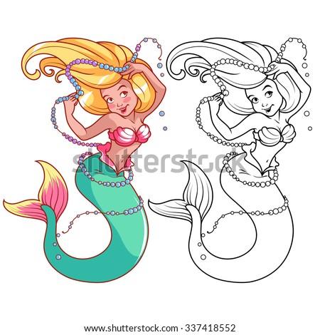 Mermaid Pearls Her Hand Vector Cartoon Stock Vector Royalty Free