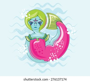 Mermaid with a pink tail