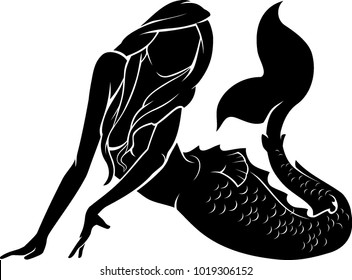 Mermaid Pose Silhouette