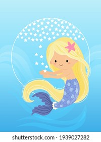 The mermaid reaches out to catch the little star, and the background is white stars forming a semicircle