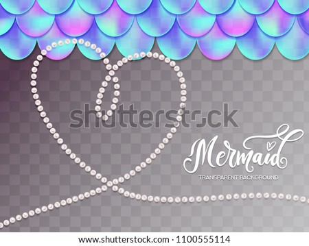 mermaid scale background pearl heart lettering stock vector royalty
