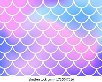 Mermaid scale. Pink and blue background. Vector stock illustration