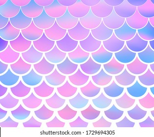 Mermaid scale. Pink and blue background. Vector stock illustration for poster
