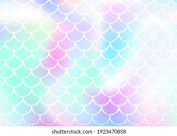 Mermaid scales background with holographic gradient. Bright color transitions. Fish tail banner and invitation. Underwater and sea pattern for girlie party. Multicolor backdrop with mermaid scales.