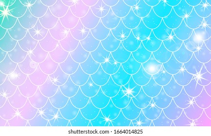 Mermaid scales. Fish squama. Kawaii pattern. Watercolor holographic stars. Rainbow background. Color vector illustration. Scale print.
