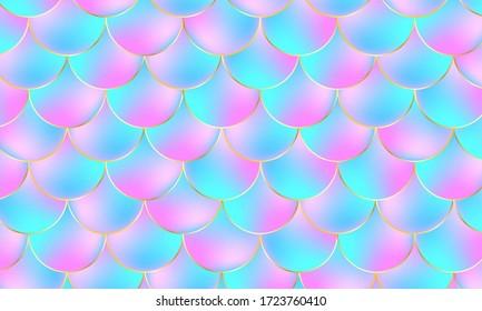 Mermaid Scales. Fish Squama. Kawaii Pattern. Mermaid Holographic Background. Color Vector Illustration. Pink, Blue Mermaid Scales Print.