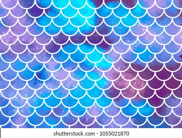 Mermaid scales. Watercolor fish scales. Underwater sea pattern. Vector illustration. Perfect for print design for textile, poster, greeting card, invitation.