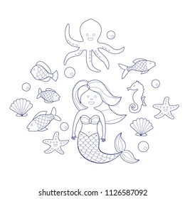 Mermaid and sea animals. Coloring book for children, vector illustration.