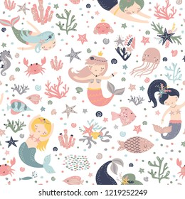 Mermaid seamless pattern Vector print with cute girls. Pastel colors. Kids background