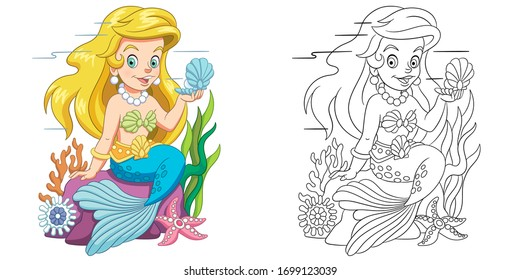 Mermaid with shell. Coloring page and colorful clipart character. Cartoon design for t shirt print, icon, logo, label, patch or sticker. Vector illustration.
