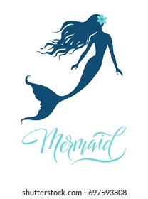 Mermaid  silhouette, hand drawn vector  illustration isolated on white, logo, t-shirt design.