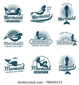 Mermaid silhouette stylized vector logos collection. Mermaid with tail swimming illustration