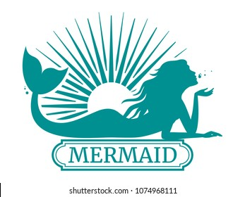 Mermaid silhouette and sun label design isolated on white. Vector illustration