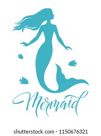 Mermaid  silhouette vector  illustration isolated on white background, logo, t-shirt design.