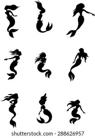 Mermaid Silhouettes Vector Illustration Clip Art