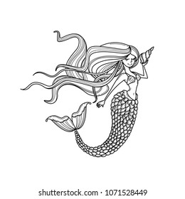 Mermaid or siren silhouette with long hair and shell. Doodle vector illustration. Coloring book page, icon, emblem or print. Cartoon character.  Outlined image. Black and white
