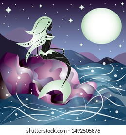 Mermaid sitting on the pink stones during the night and looking the sea and the moon. Dream contest. Vector illustration.