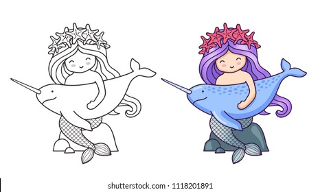 Mermaid, sitting on a rock, holding narwhal. Cartoon characters. Vector illustration for coloring book, print, card, postcard, poster, t-shirt, patch, tattoo.