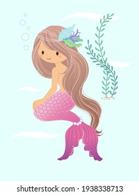 The mermaid smiles and looks ahead, sitting on the ground with seaweed in the background