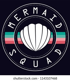 MERMAID SQUAD SHELL WITH PASTEL STRIPES AND DOTS