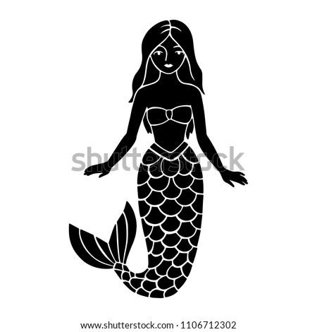 mermaid stencil laser cut cutout template stock vector royalty free