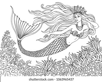 Mermaid swiming undersea, hand drawn linen vector illustration on a white background for coloring book