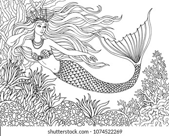 Mermaid Coloring Book Images Stock Photos Vectors Shutterstock