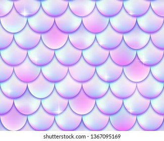 Mermaid tail foil texture effect background. Vector iridescent neon seamless pattern. Pink holographic fish scale or hologram mermaid template for party invitation design.