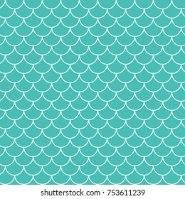 Mermaid tail seamless pattern. Fish skin texture. Tillable background for girl fabric, textile design, wrapping paper, swimwear or wallpaper. Blue mermaid tail background with fish scale underwater.