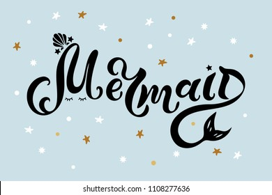 Mermaid text as logo, badge, patch, icon isolated on blue background. Handwritten lettering Mermaid for birthday, greeting card, party invitation, flyer, banner template, baby shop, t-shirt design.