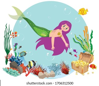 mermaid under the sea cartoon style for children