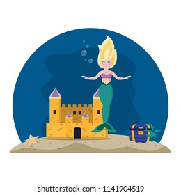 mermaid under water with castle and coffer