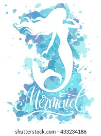 Mermaid, vector silhouette illustration on  watercolor background.