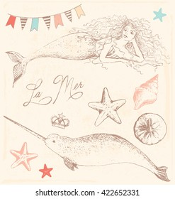 Mermaid and Whale Sea Elements Sketch Vintage Vector Set