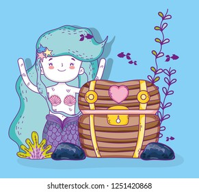 mermaid woman with coffer and plants with fishes