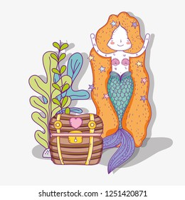 mermaid woman with coffer and plants leaves
